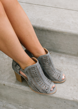 One Direction Laser Cut Booties Gray