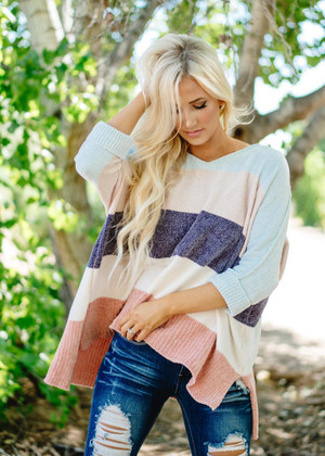 Can't Buy Me Love Chenille Color Block Sweater Blue/Peach