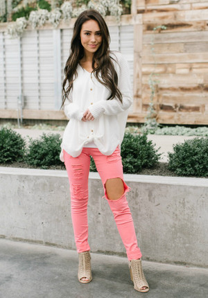 Mid Rise Distressed Colored Skinny Jeans Neon Coral