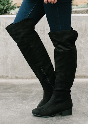 I Will Follow You Over The Knee Boot Black