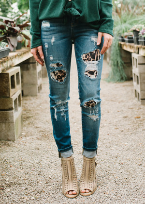 Patches Of Leopard Denim Distressed Jeans