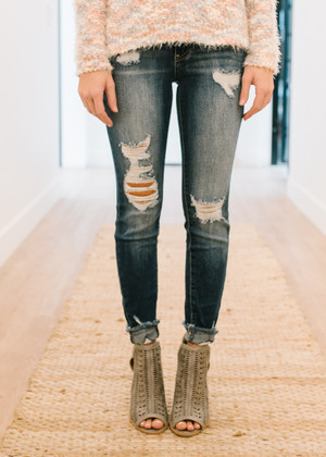 You're In My Heart Distressed Denim Jeans