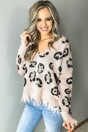 Leopard Distressed Sweater Top Blush