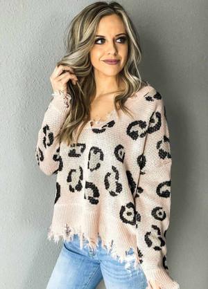 Leopard Distressed Sweater Top Blush