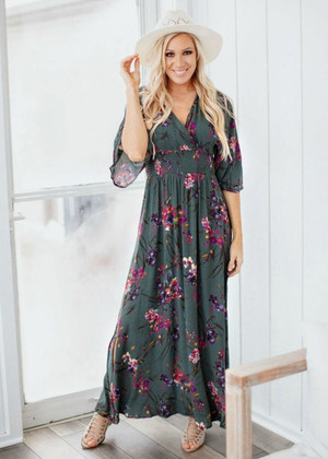 I Want You To Want Me Floral Dress Hunter Green