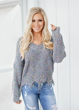 Living A Fairytale Funfetti Distressed Sweater Gray