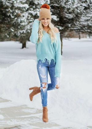 Keep Me Distressed Frayed Knit Sweater Mint