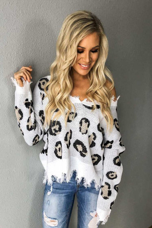 Leopard Distressed Sweater Top Ivory/Tan