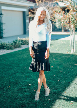 See The Good Button Up Flare Ruffle Midi Skirt Black