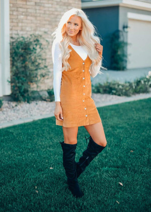 Classic Button Down Pocket Overall Dress Mustard CLEARANCE