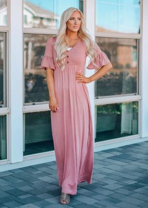 A Life Worth Living Ruffle Maxi Dress Mauve