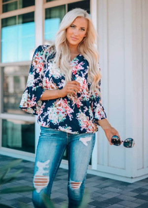 Be My Sunshine Floral Belle Sleeve Top Navy
