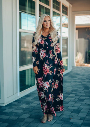 You Are My Sunshine Floral Wrap Maxi Dress Black