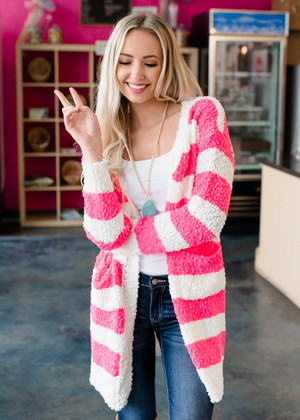Neon Pink Striped Open Pocket Sweater