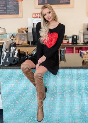 Valentine's Day Sequins Heart Dress Black