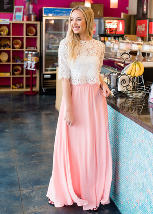 Peach Blush Pleated Flowy Maxi Skirt