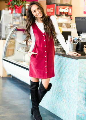 Classic Button Down Pocket Overall Dress Burgundy