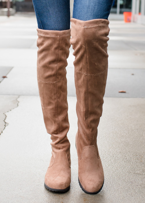 a883133b343 Keep Me Running Over The Knee Boots Taupe - Modern Vintage Boutique