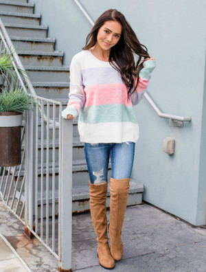 What I Have Been Waiting For Striped Sweater Pink