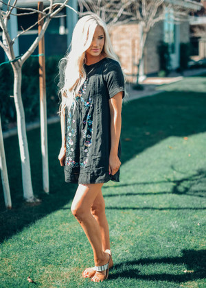 Life's About Changin' Embroidered Short Dress Black