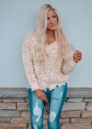 Make All My Dreams Come True Distressed Leopard Sweater Beige