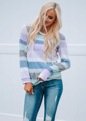 Got The Time Striped Top Lavender