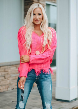 Keep Me Distressed Frayed Knit Sweater NEON FUCHSIA