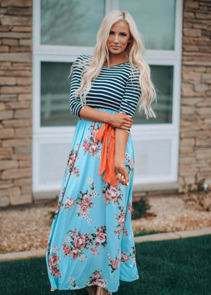 Come Together Striped Floral Tie Maxi Dress