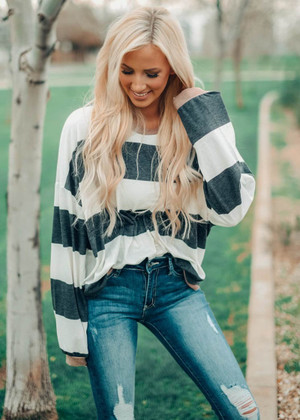 Oversized Charcoal Striped Top with Camel Trim