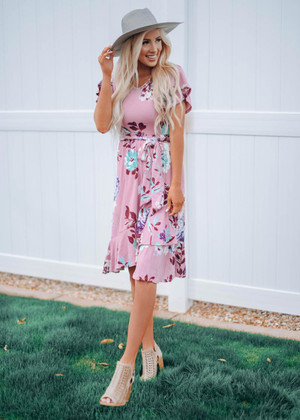 I Feel The Love Floral Ruffle Wrap Dress Mauve