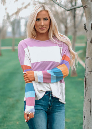Easy Going Multi Striped Top Violet