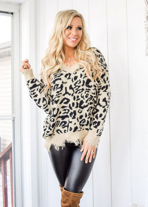 In My Dreams Distressed Leopard Sweater Taupe/Black