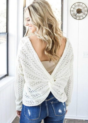 Can't Stop Me Twist Back Sweater Top Ivory
