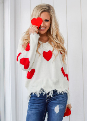 Hooked On You Distressed Heart Sweater Ivory/Red