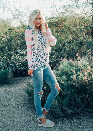 Through The Years Leopard Stripe Top Pink/Mint