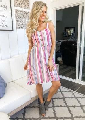 Golden Hour Striped Button Tank Dress Pink CLEARANCE