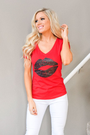 The Love In Your Lips Glitter Tee Red CLEARANCE