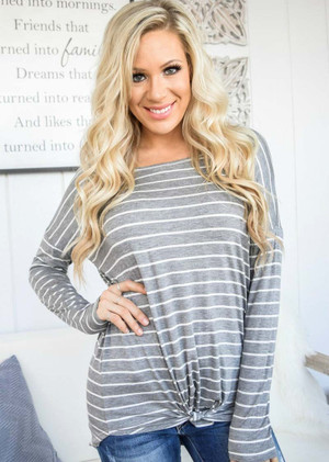 Going Out Tonight Striped Top Gray
