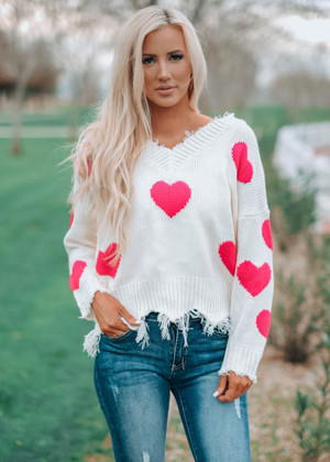 Candy Girl Heart Sweater Ivory With Hot Pink Hearts
