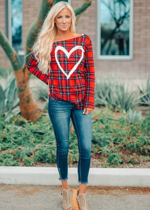 Perfect Heart Plaid Off Shoulder Graphic Top