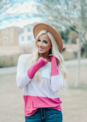 Don't Wanna Let You Down Color Block Top Berry