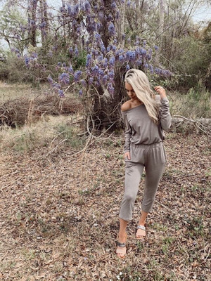 Just Own It Pocket Cinched Waist Jumpsuit Mocha CLEARANCE