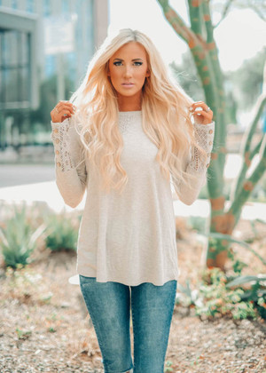 Just Fly Away Delicate Lace Button Sleeve Top Stone