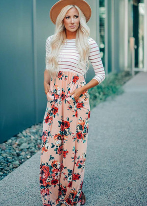 Hold Onto Love Striped Floral Maxi Dress Blush