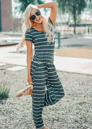 You Make Me Smile Striped Tie Jumpsuit Charcoal