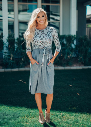 Who Says I Can't Leopard Tie Dress Gray