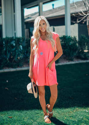 You Are Enough Ruffle Sleeve Dress Neon Pink