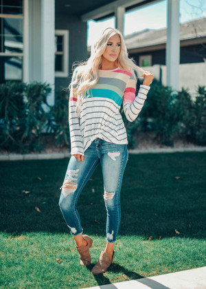 Wanna Be Closer To You Multi Color Striped Twist Top Ivory