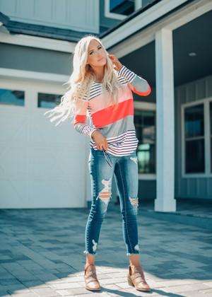 Get Back Up Again Striped Top Neon Coral