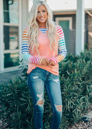 You're All I'll Ever Need Striped Sleeve Top Coral